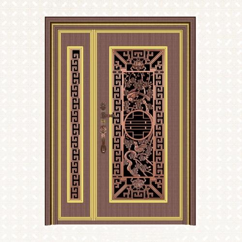 5053-8红古铜直纹雪花板无缝子母门