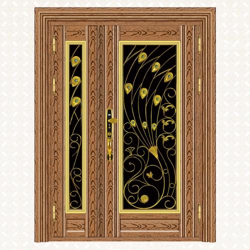 567-7C玫瑰金木纹板子母门