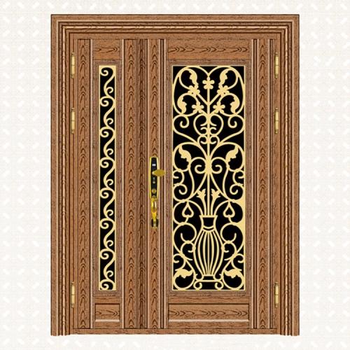 809-5玫瑰金木纹板子母门