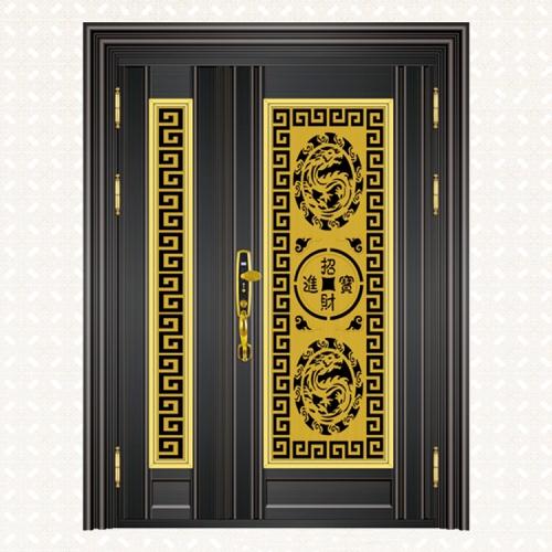 663-5黑钛金拉丝板子母门