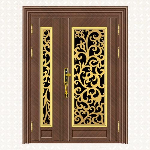 472-5玫瑰金交叉纹板子母门
