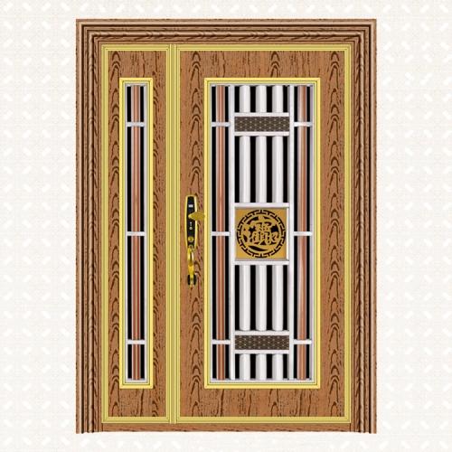 807-4玫瑰金木纹板无缝子母门