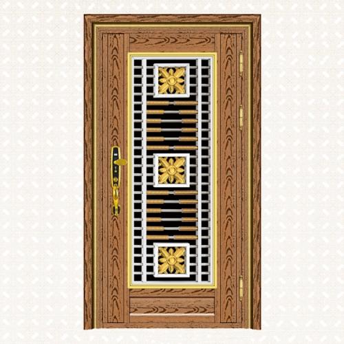646-6A玫瑰金木纹板单门