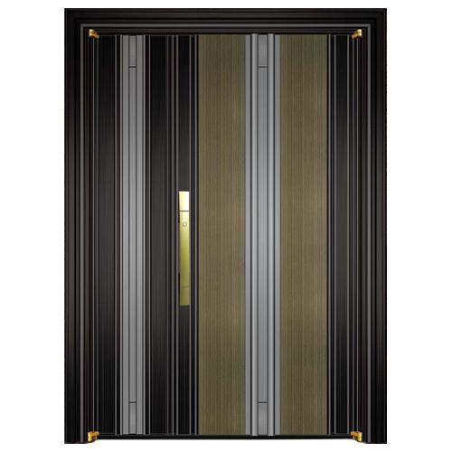 797-8黑钛金拉丝+青古铜拉丝(深色)+灰钢拉丝子母门