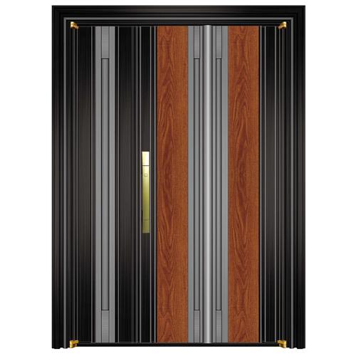 800-8黑钛金拉丝+实木锯齿黄橡+灰钢拉丝子母门